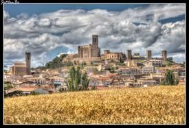 """Una fabulosa fortificación medieval corona el cerro sobre el que se asienta Artajona, un pequeño pueblo situado a 30 kilómetros de Pamplona. Su impresionante fortaleza del siglo XI, conocida con el nombre de """"El Cerco"""",rodea un laberinto de calles estrechas y empedradas, jalonadas por monumentales casas y palacios."""