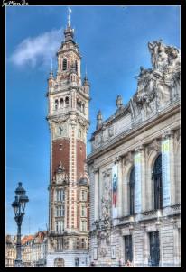 La Cámara de Comercio de Lille fue construida en la Plaza del Teatro, entre 1910 y 1921 por el arquitecto Louis-Marie Cordonnier, para sustituir la Vieja Bolsa que se había quedado pequeña. Su estilo neo-flamenco es una reminiscencia de la riqueza y la majestuosidad de los ayuntamientos de los Países Bajos. El campanario, está decorado con un reloj de cuatro caras y 76 metros de altura. Es de estilo neo-regionalista y está decorado con motivos vegetales y pergaminos referentes al estilo 'lillois' del siglo XVII. El salón principal tiene una majestuosa cúpula acompañada por grandes frescos y galerías alineados con columnas. Todavía alberga la sede de la Cámara de Comercio e Industria, así como la sede de la Cámara Regional de Comercio e Industria del Norte-Pas de Calais y la oficina de correos.